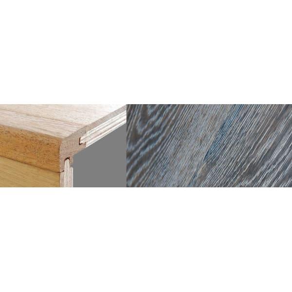 Grey Wharf Stained 15mm Oak Stair Nosing Profile Soild Hardwood 2.7m