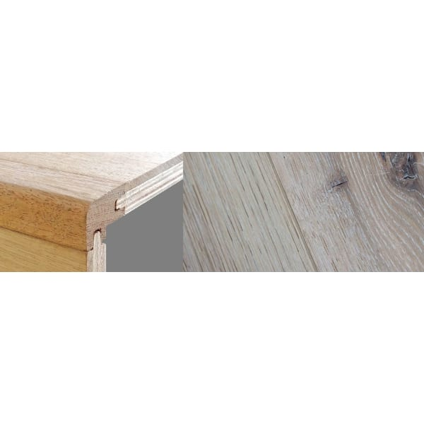 Limehouse White Stained 15mm Oak Stair Nosing Profile Soild Hardwood 2.7m