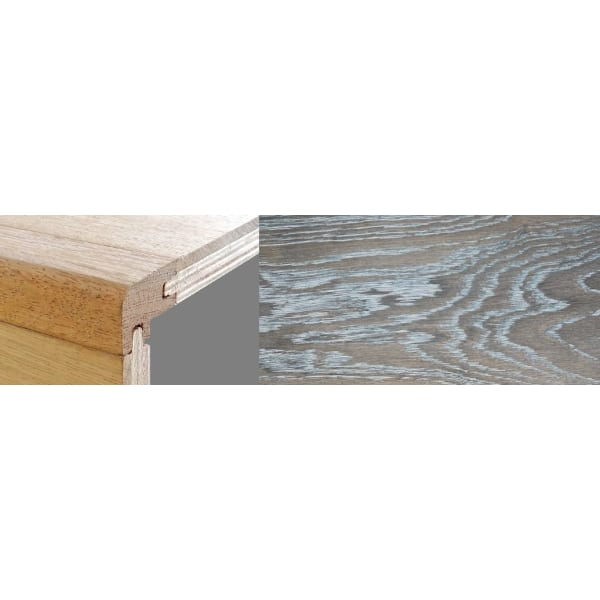 Silver Haze Stained 15mm Oak Stair Nosing Profile Soild Hardwood 2.7m