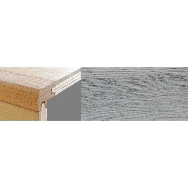 Smokehouse Grey Stained 15mm Oak Stair Nosing Profile Soild Hardwood 2.7m