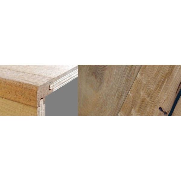 Weathered Oak Beam Stained 15mm Oak Stair Nosing Profile Soild Hardwood 2.7m