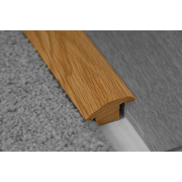 Weathered Oak Beam Stained Wood to Carpet Profile Soild Hardwood 15mm Rebate 2.7m