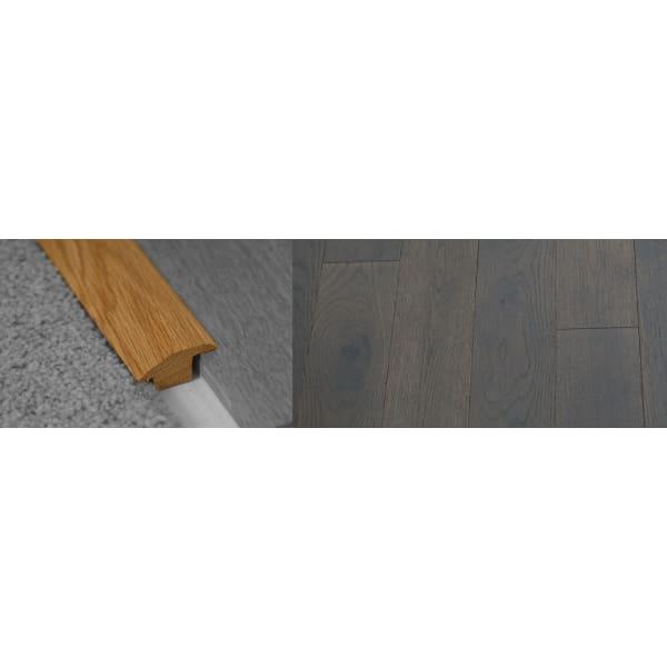 Grey Stained Wood to Carpet Profile Soild Hardwood 18mm Rebate 2.7m