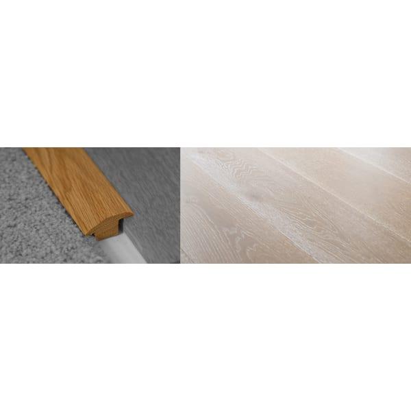 Titanium White Stained Wood to Carpet Profile Soild Hardwood 15mm Rebate 2.7m