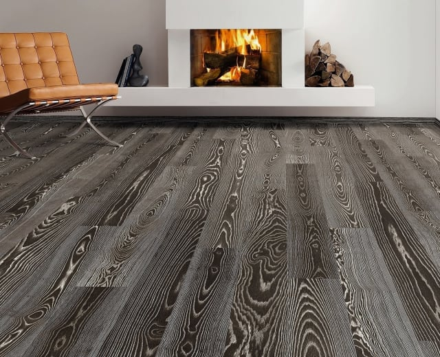 Burnt Umber Stained Ash Brushed Oiled Engineered Hardwood Flooring