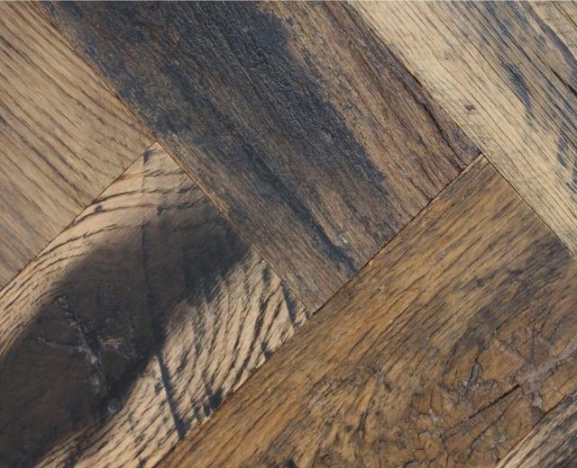 Baroque Oak Hardwax Oiled Reclaimed Herringbone Parquet Engineered Hardwood Flooring