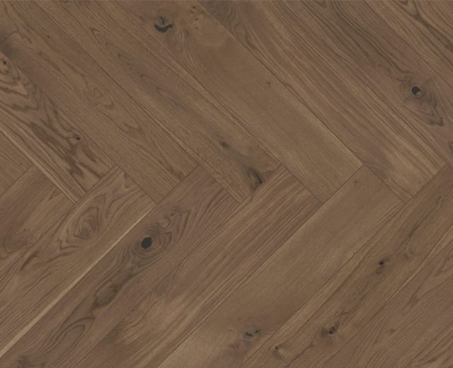 Smoked Stained Oak Herringbone Rustic Engineered Parquet Click Block
