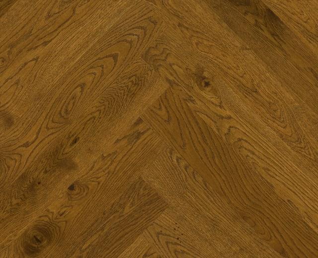 Antique Stained Oak Herringbone Rustic Engineered Parquet Click Block