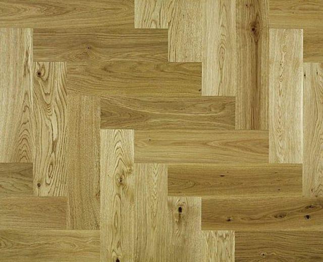 Rustic Oak 350mm Lacquered Herringbone Parquet Engineered Block