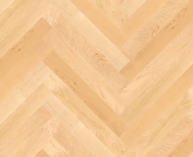 Canadian Maple Herringbone Parquet Lacquered Hardwood Floor