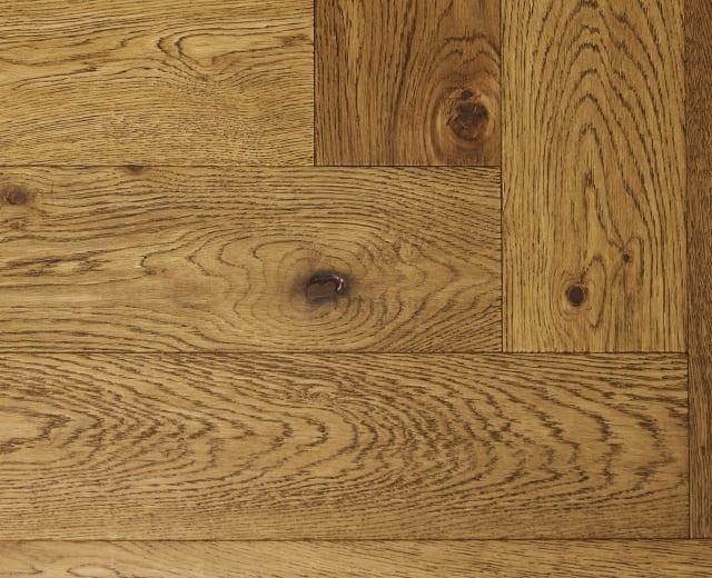 Antique Rustic Oak Oiled Hand-scraped Herringbone Engineered Parquet Block