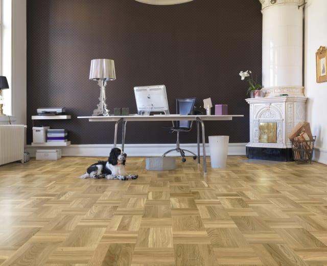 Baltic Stained Oak Drie-Vier Dutch Weave- Parquet Flooring