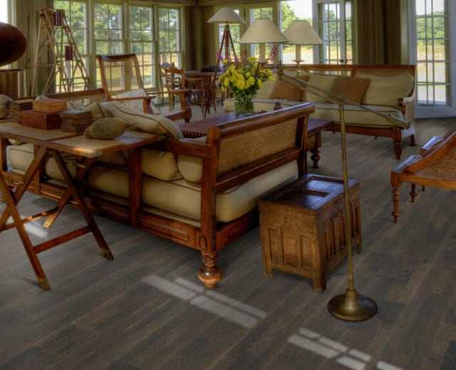 3 Strip Ebony Stained Oak Brushed Lacquered Engineered Hardwood Flooring