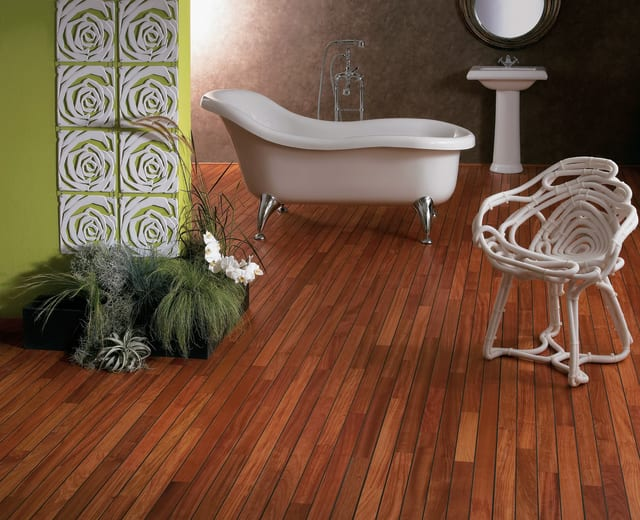 Doussie Navylam+ Parquet Bathroom Wood Flooring