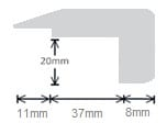 Solid Oak Stair Nosing Profile Soild Hardwood 20mm 0.9m