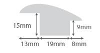 Walnut Wood to Carpet Profile Soild Hardwood 15mm Rebate 2.7m