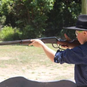 Mitchell McDowell in action at Wanganui Pistol Club. Photo / Supplied