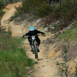Arlo Johnston smashing his 1st attempt in downhill finishing 3rd in the U17 and 4th in the U17 Enduro. Photo / Supplied.