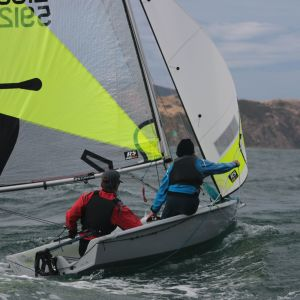 Eddie Dewhirst and Caleb Squire won the Feva Class Trophy from the Wellington Centreboard Championships for Sailing. Photo / Supplied.