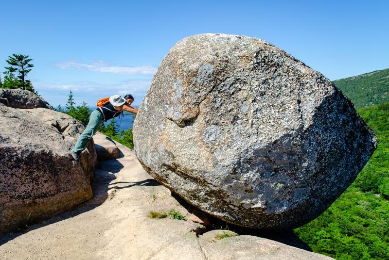 sushila pushing on bubble rock