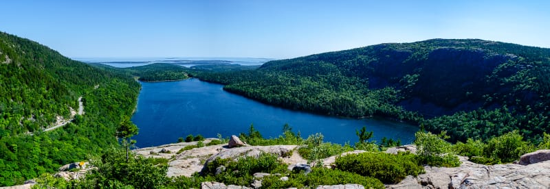 view of jordan pond from south bubble mountain