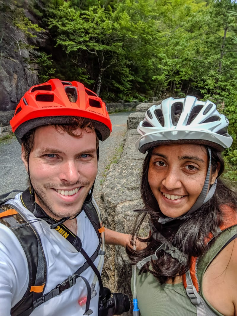 Will and Sushila selfie on carriage road