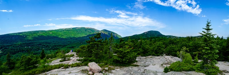 view of Cadillac Mountain from Gorham mountain summit