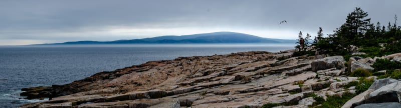 view of cadillac mountain from schoodic point