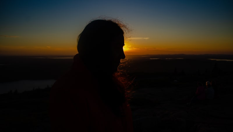 silhouette of sushila at sunset