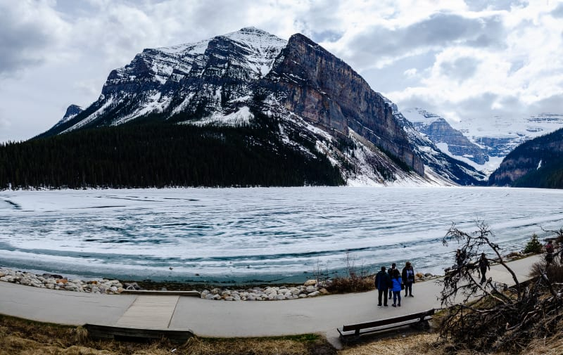 a side view of lake louise
