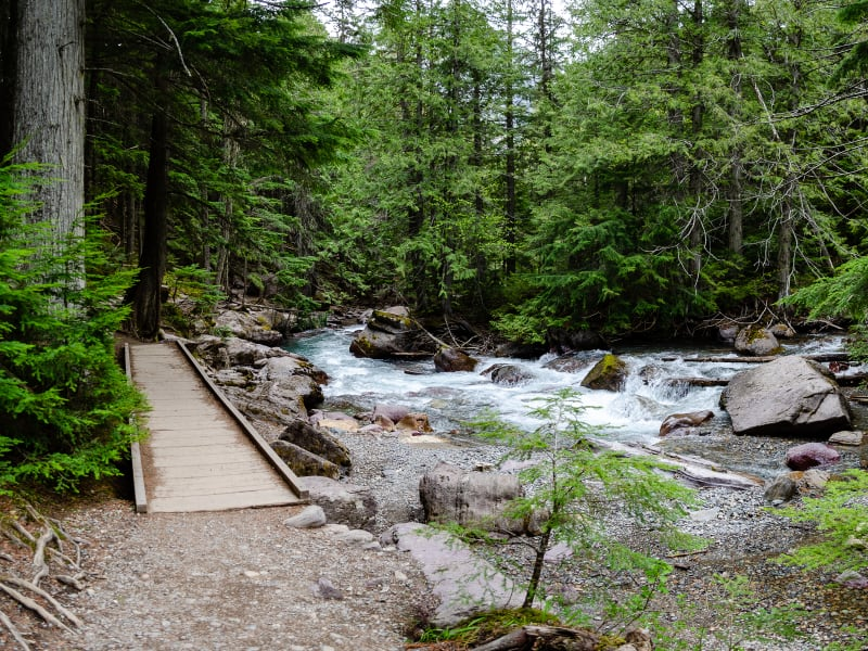 crek with a wooden bridge along side