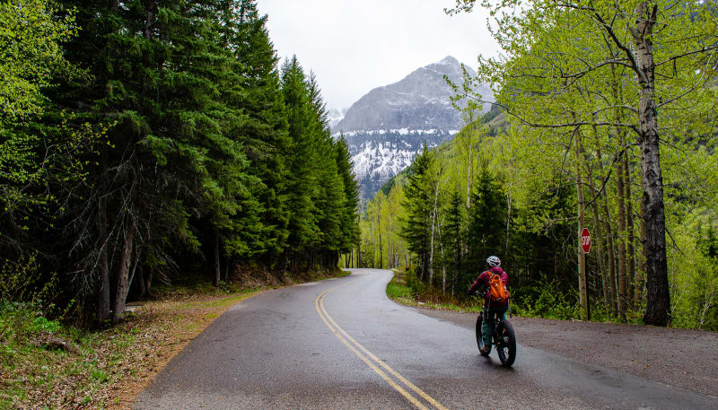 sushila riding bike downhill on Going-to-the-Sun road