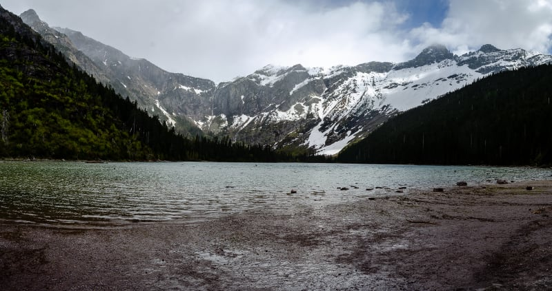 avalanche lake surrounded by mountains