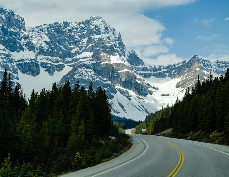 icefields parkway winding toward the mountains