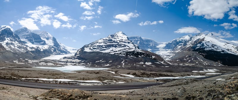 panorama of the athabasca glacier and mount snow dome