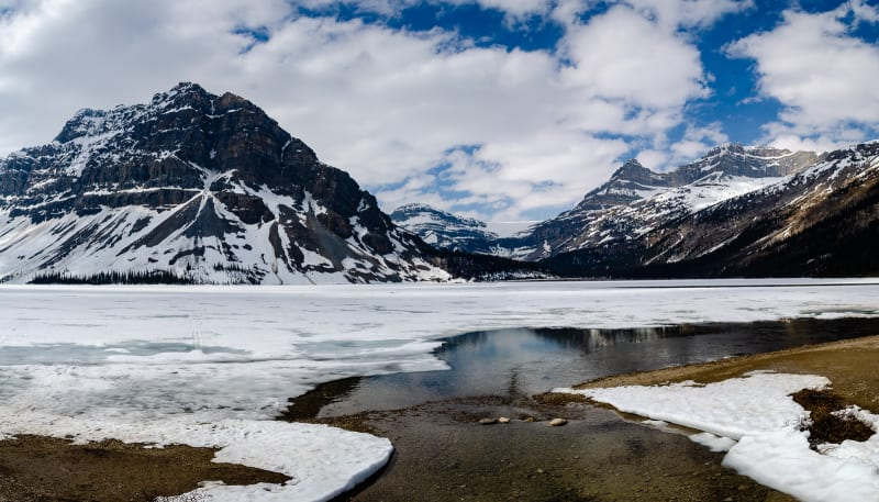 bow lake covered in snow and ice
