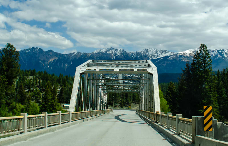 a truss bridge along our route north