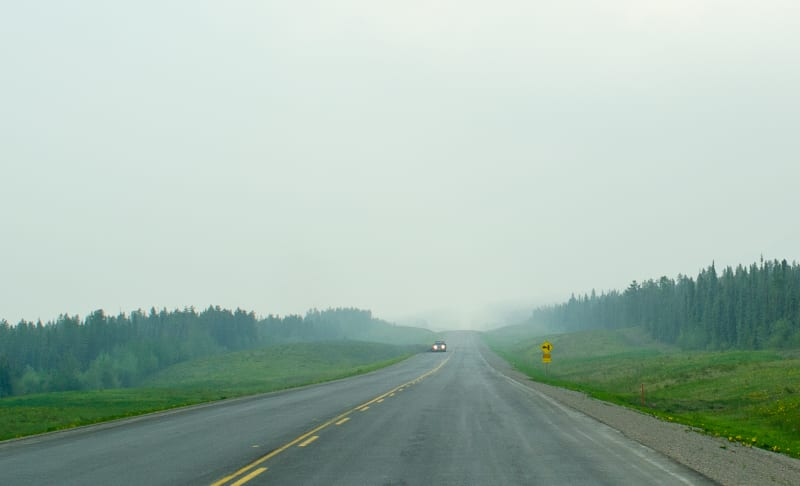 smoke-filled air covering the highway