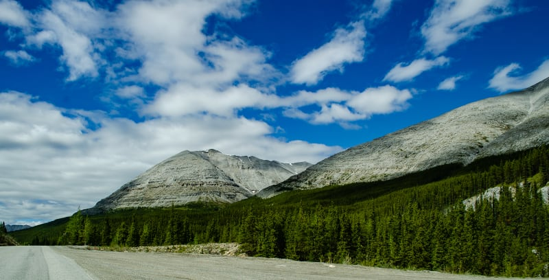 light colored mountains in stone mountain provincial park