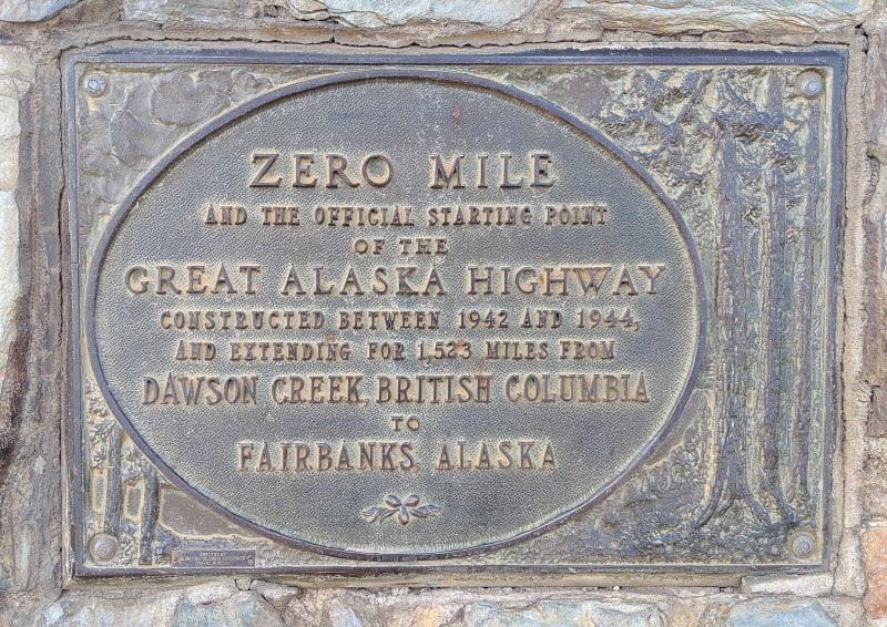 Historic plaque marking the start of the highway