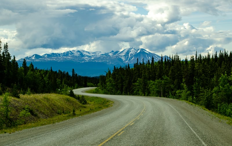 road winding towards the mountains