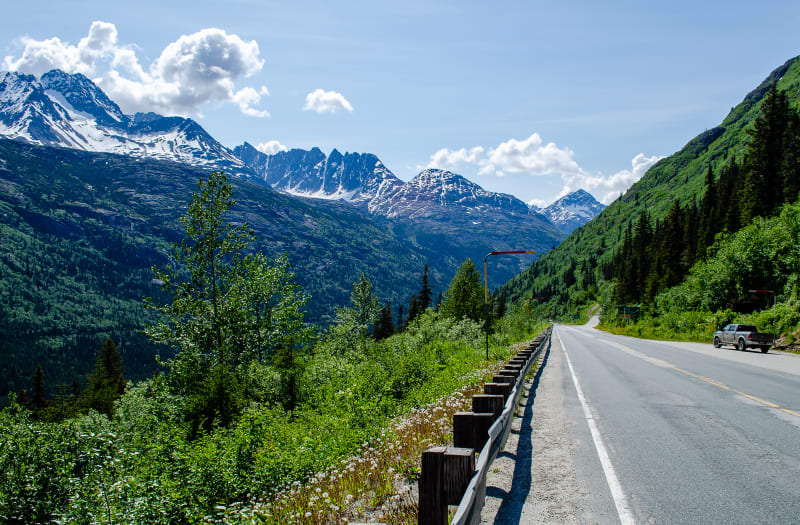 road descending into a valley
