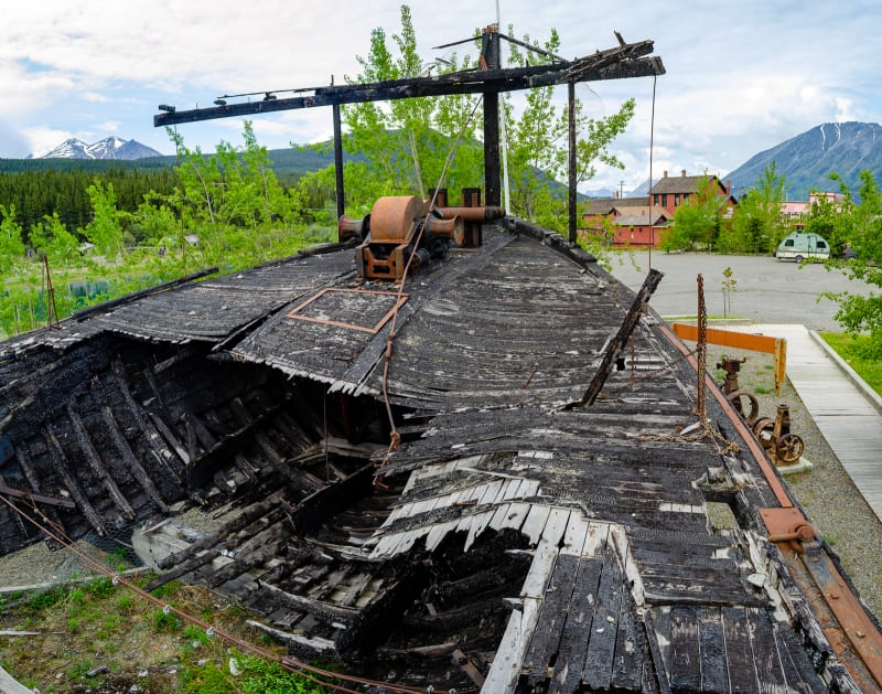the burnt remains of a historic paddlewheel boat