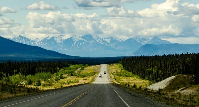 alaska highway leading toward the saint elias mountains