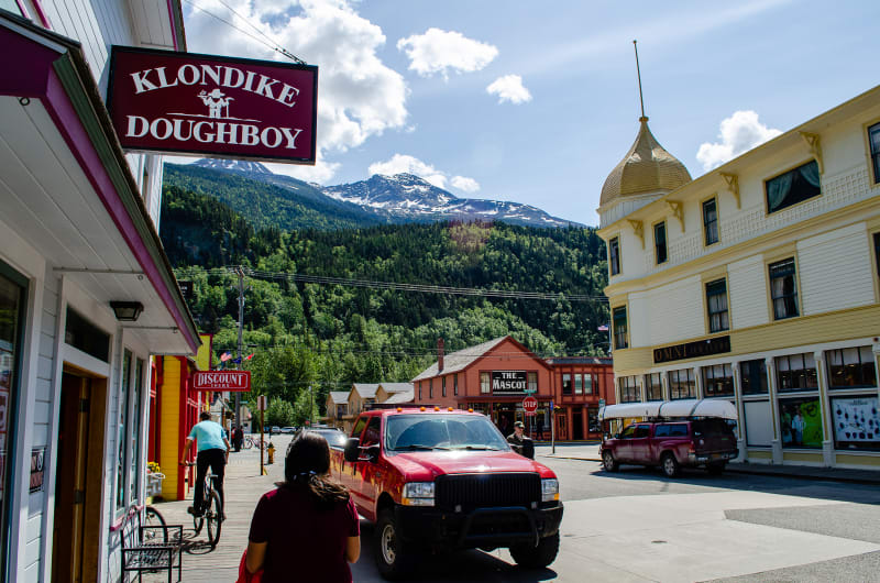 downtown skagway with mountains rising above