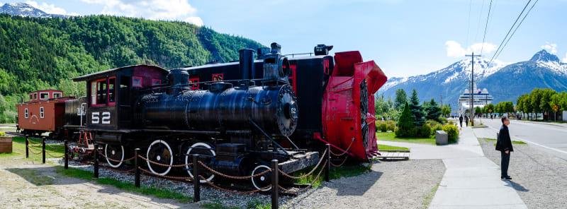 historic trains sitting in skagway