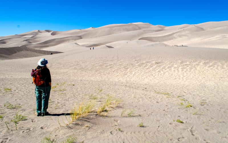 sushila looking up at the dunes