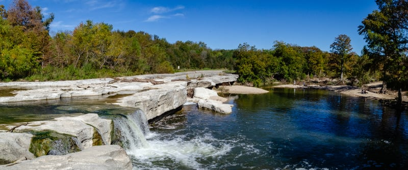 the waterfall at mckinney falls
