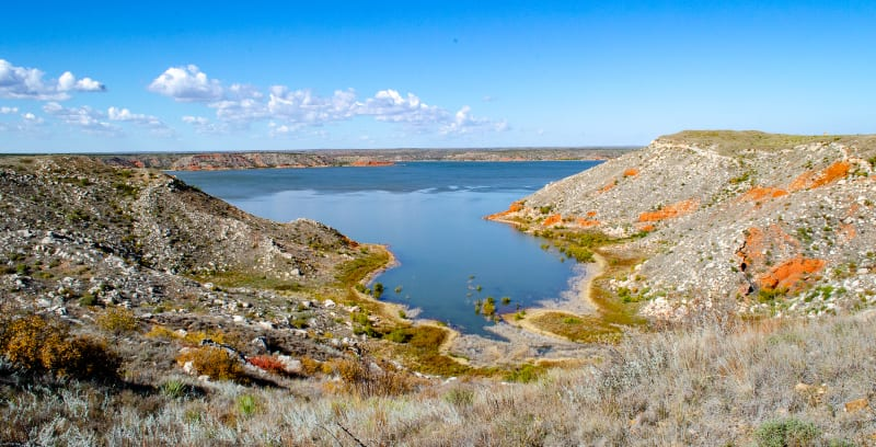 a view of lake meredith from our hike