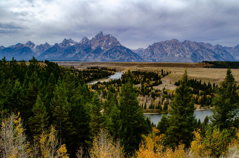 view of the snake river and teton mountains made famous by ansel adams